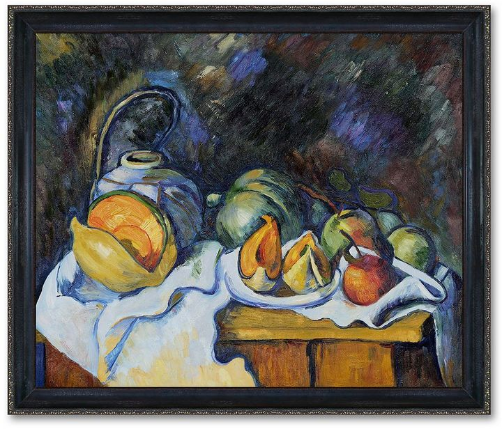 KitchenArt 20'' X 24'' ''still Life With Melons And Apples'' Framed Canvas Wall Art By Paul Cezanne