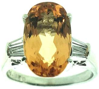900 Platinum & 5.81 ct Imperial Topaz and 0.31ct. Diamond Ring Size 5.5