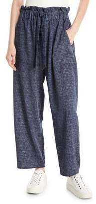 Milly Kori Denim-Print Stretch Crepe Pants