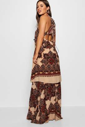 boohoo Petite Lace Up Back Tiered Printed Maxi Dress