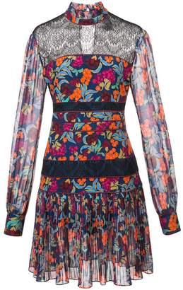 Saloni floral printed flared dress