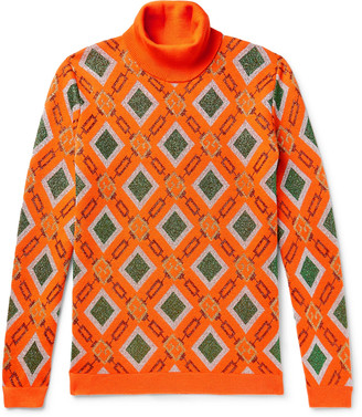 Gucci Wool-Blend Jacquard Rollneck Sweater - Men - Orange