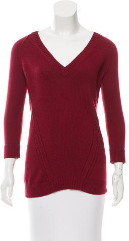 Burberry  Burberry Brit Red V-Neck Sweater