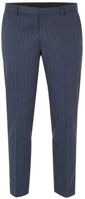 Topman Blue Pinstripe Suit Trousers
