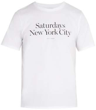 Saturdays NYC Miller Printed Cotton Jersey T Shirt - Mens - White