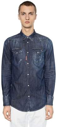 DSQUARED2 Dark Wash Stretch Denim Western Shirt