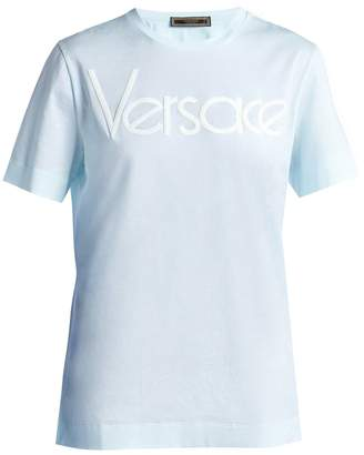 Versace Logo-embroidered cotton T-shirt
