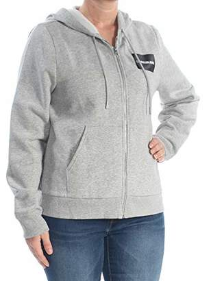 Calvin Klein womens Institutional Zip-Up Hooded Sweatshirt