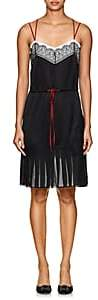 Alberta Ferretti Women's Floral-Lace-Embellished Silk Minidress - Black