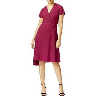 Anne Klein Women's Short Sleeve V-Neck Asymmetrical Hem Dress-Crepe