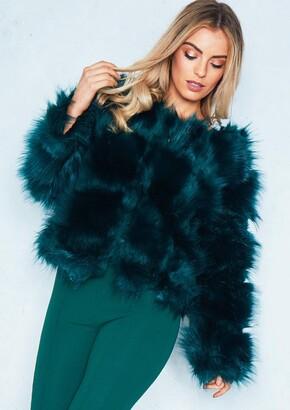 d1fe606af5640 Missy Empire Aniyah Emerald Green Cropped Shaggy Faux Fur Coat