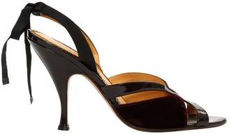 Saint Laurent Burgundy Velvet Sandals