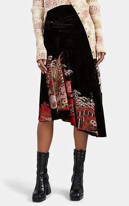 Paco Rabanne Women's Garden-Pattern Velvet Midi-Skirt - Black Pat.