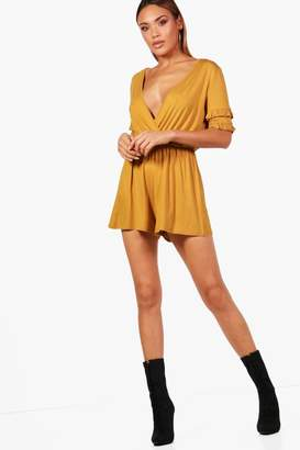 boohoo Micro Frill Wrap Playsuit