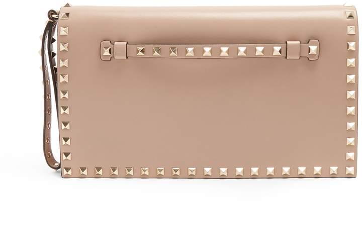 VALENTINO Rockstud leather foldover clutch