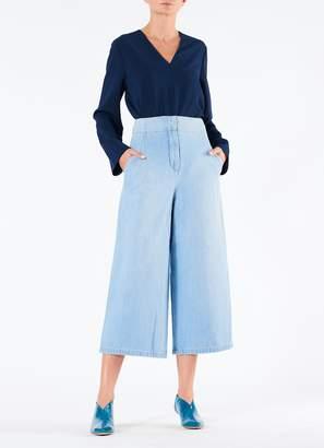 Tibi Vintage Stone Wash Cropped Wide Leg Jean