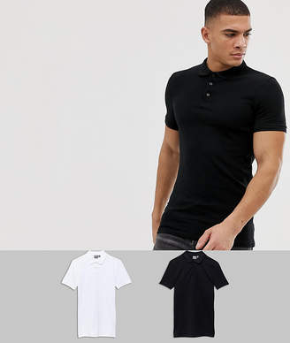 Asos Design DESIGN Muscle Fit Polo In Pique 2 Pack Save