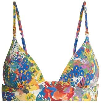Floral-print padded triangle bikini top