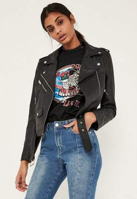 Missguided Black Ultimate Faux Leather Biker Jacket