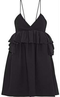 Victoria Beckham Victoria Ruffled Silk-Trimmed Wool Mini Dress