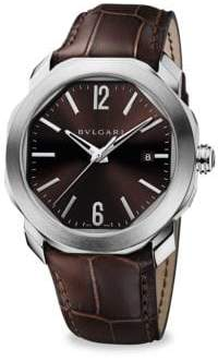 Bvlgari Octo Roma Stainless Steel& Brown Alligator Watch