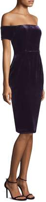 BCBGMAXAZRIA Off-the-Shoulder Velvet Sheath Dress