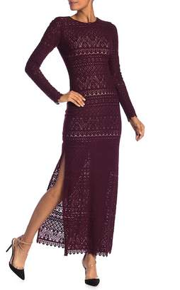Alice + Olivia Dawna Lace Side Slit Maxi Dress