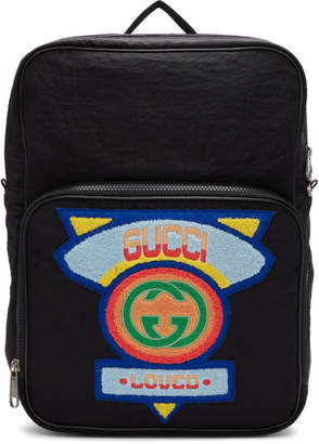 Gucci Black Medium 80s Patch Backpack