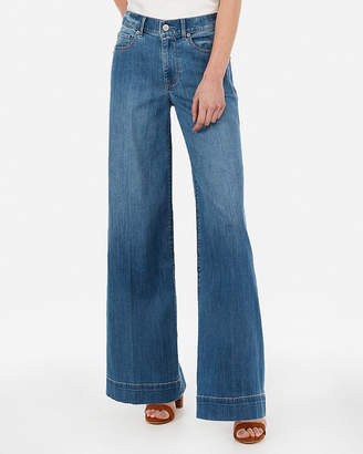 Express Petite High Waisted Stretch Wide Leg Jeans