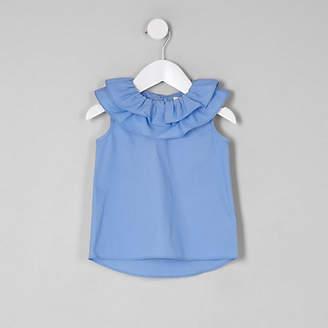 River Island Mini girls blue clown collar sleeveless top