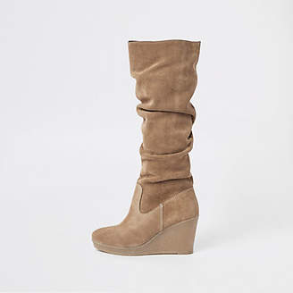 River Island Beige suede knee high slouch wedge boots