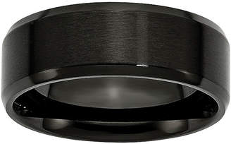 MODERN BRIDE Mens 8mm Black Ion-Plated Stainless Steel Wedding Band
