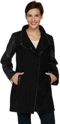 Blend of America Dennis Basso Envelope Collar Wool & Faux Leather Coat