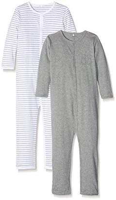 Name It Baby Boys' NMNNIGHTSUIT 2P Mel NOOS Sleepsuit, Multicolour Grey Melange, Pack of 2
