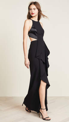 Halston High Neck Cutout Gown