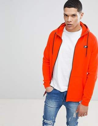 Nike Modern Zip Through Hoodie In Orange 805130-891