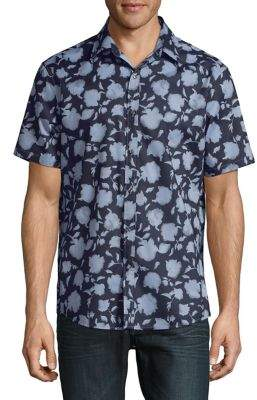 Michael Kors Slim-Fit Floral Silhouette Short-Sleeve Shirt