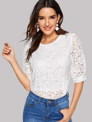 04bb6067a74 Lace Top With Zipper Back - ShopStyle