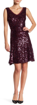 Marina Sequined Mesh Trim Dress $179 thestylecure.com