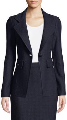 St. John Hemp-Knit Fitted Blazer Jacket