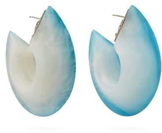 Vanda Jacintho - Two Tone Resin Hoop Earrings - Womens - Blue