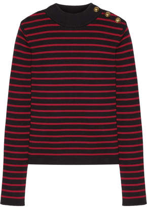 REDValentino - Tulle-paneled Striped Cotton Sweater $395 thestylecure.com