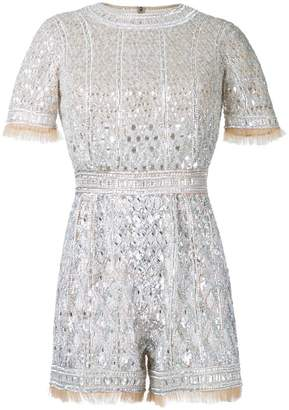 ZUHAIR MURAD beaded shortsleeved romper