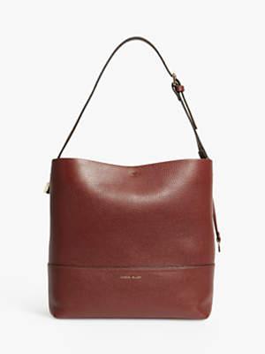 Karen Millen Collection Leather Medium Bucket Bag, Burgundy
