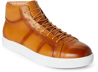 N. Zanzara Cognac Phaser Leather High-Top Sneakers