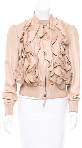 ValentinoValentino Ruffle-Accented Leather Jacket