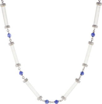 Arunashi Crystal Necklace With Sapphire And Diamonds