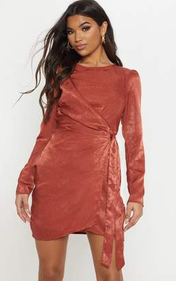 003f213c1142 PrettyLittleThing Rust Satin Wrap Front Shift Dress