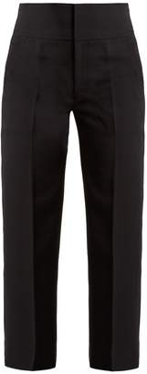 Muveil High-rise lace-up detail cropped trousers