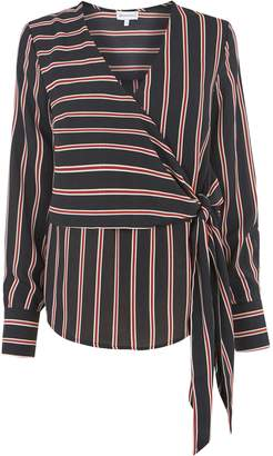 Next Womens Warehouse Stripe Long Sleeve Wrap Top
